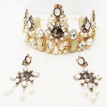Amazon Com Tiara Crowns Hair Accessories Rhinestone Pearl Wedding