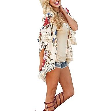 195eb2bc ZEAMO Women Flowy Sheer Crop Sleeves Loose Chiffon/Cotton Kimono Cardigan Blouse  Top (Small