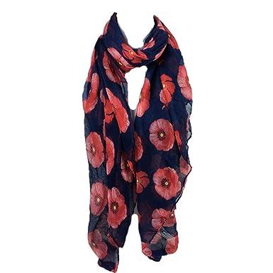 Echarpes et foulards Amlaiworld Femmes Écharpe longue à imprimé pavot rouge  Enveloppe de plage de fleurs Wrap Mesdames châle (90 180cm) (90cm 180cm, ... 3fbea49245c
