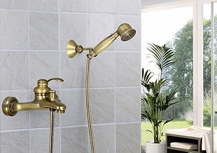 Vetrineinrete rubinetto per vasca a parete bronzo con doccetta