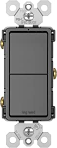 Legrand radiant 15 Amp Combination Switches, Rocker Wall Light Switch, Black, 2 Single-Pole Switches, RCD11BKCC6