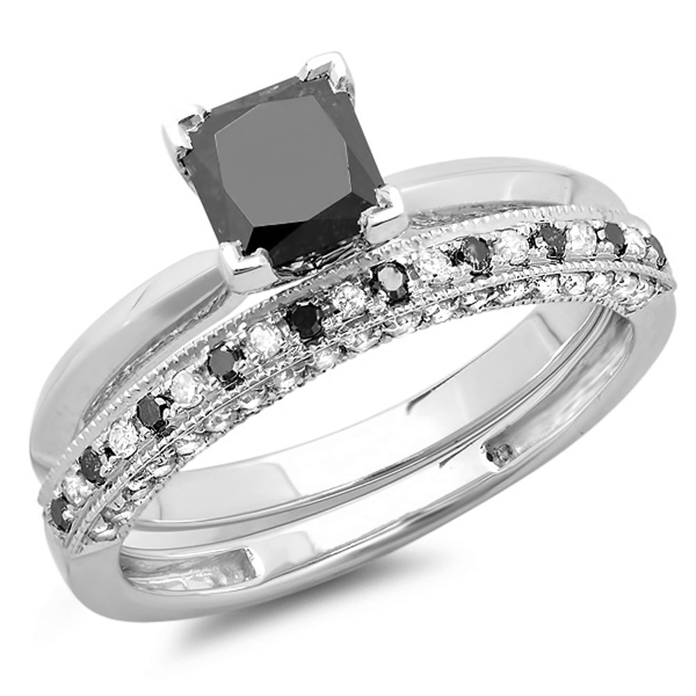 1.50 Carat (ctw) 10K White Gold Princess Cut Black & Round White Diamond Ladies Bridal Solitaire Engagement Ring With Matching Millgrain Wedding Band Set 1 1/2 CT (Size 8)