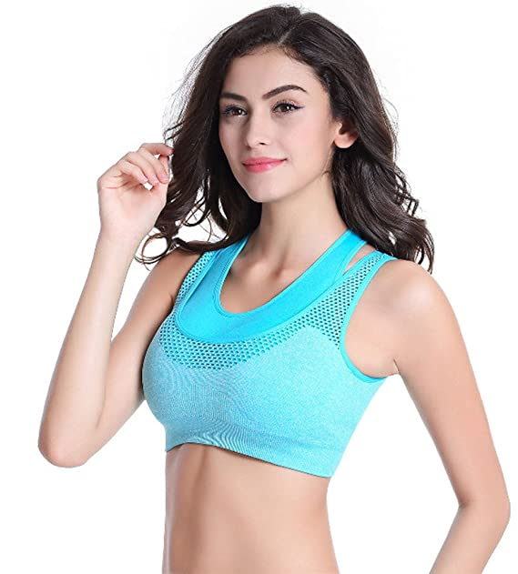 2c57bfeeebcde Gopalvilla Women s Push Up Sports Bra (Blue Free Size)  Amazon.in  Clothing    Accessories