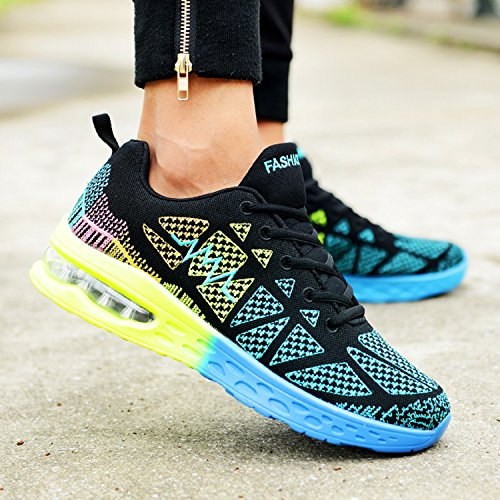Sport Lightweight Unisexo Verde Air Fitness Negro Running Shoes al Libre Deportes Cushion Aire Zapatos dBdFtqw