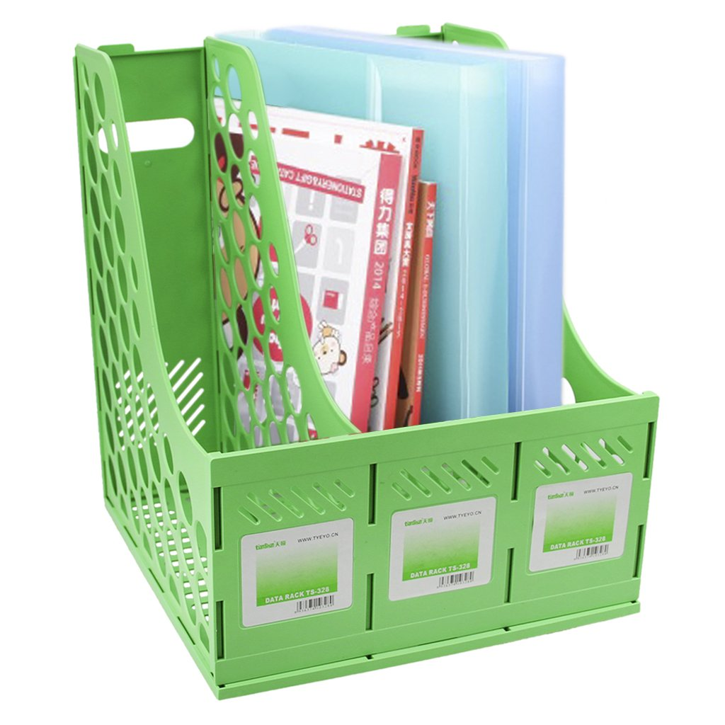 3 Compartment File Folder Rack Documents Organizer Holder Desktop Magazine Sorter Book Shelf Plastic Storage Box Freestanding DIY Caddy for Notebook Home School Office