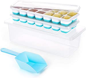 Covered Ice Cube Trays Bin for Freezer- Ice Holder, Stackable Container Box and Silicone Trays 2 Pack with Lid Scoop, BPA Free, Space Saving, Portable Storage, By MERRYBOX.