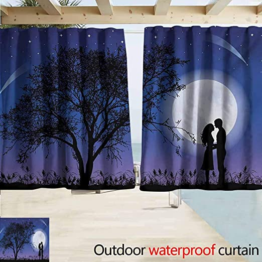 Cortina de pérgola de noche con composición romántica con luna ...