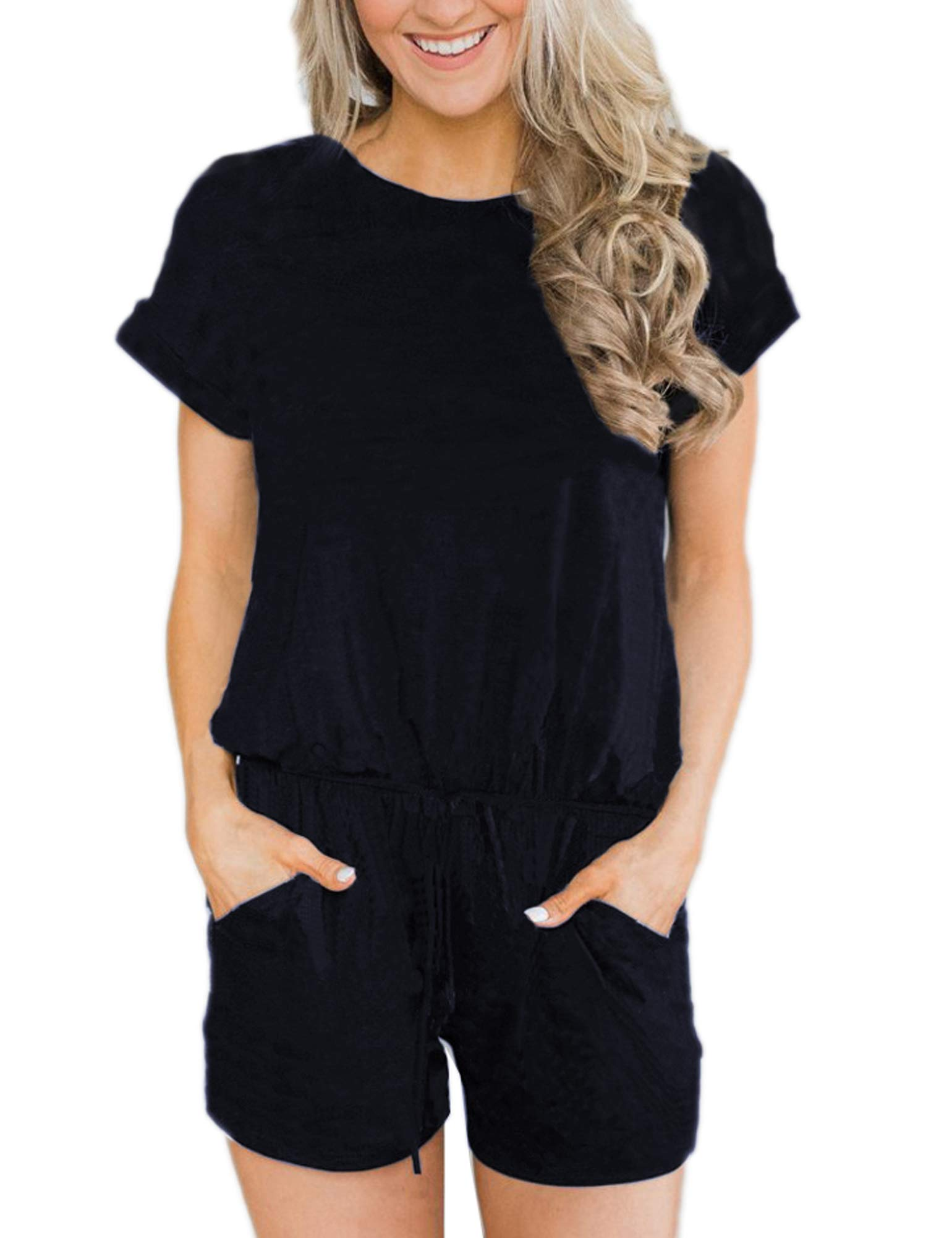 ANRABESS Women's Summer Solid Jumpsuit Casual Loose Short Sleeve Jumpsuit Rompers with Pockets Elastic Waist Playsuit Black-M BYF-33 by ANRABESS
