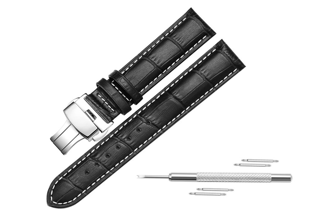 Leather Watch Band For Men Replacement 21mm Soft Contact Stitch Alligator Gain Leather Watch Strap Butterfly Buckle Leather Band-Black