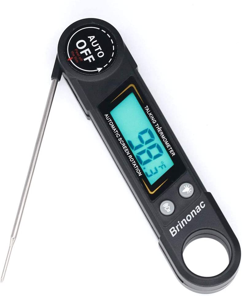 Instant Read Meat Thermometer,Brinonac Digital Oven Food Thermometer with Backlight and Calibration for Smoker,Kitchen,Outdoor Cooking and BBQ Grill-Black