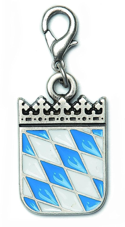 Charivari Anhänger, Schlüsselanhänger mit bayerischen Wappen - Weiß Blau! Trachtenschmuck in Silber