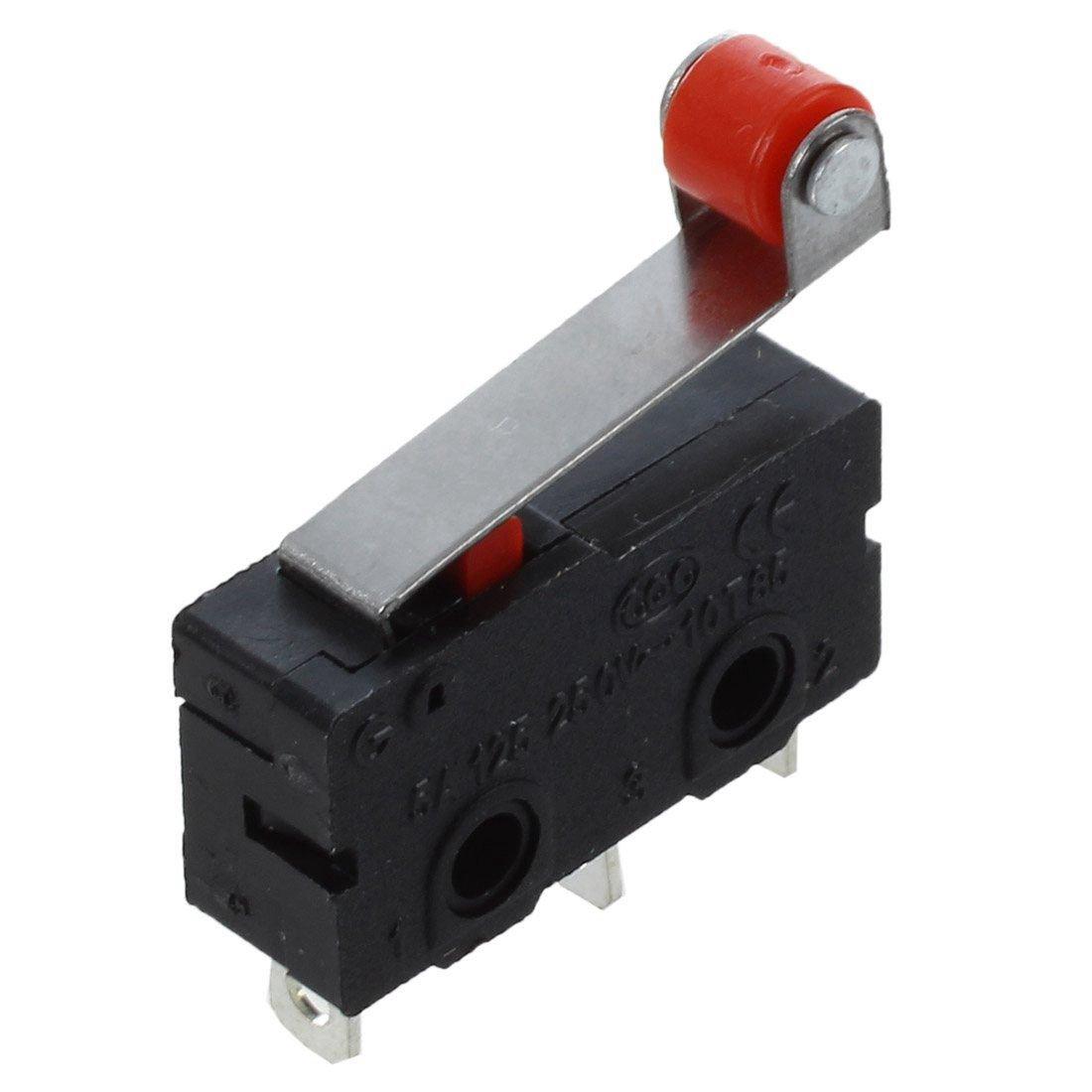 Vaorwne AC 250V 5A SPDT 1NO 1NC Interruptor-micro de palanca de rodillo de bisagra momentaneo 3 Pines 10 Pzs