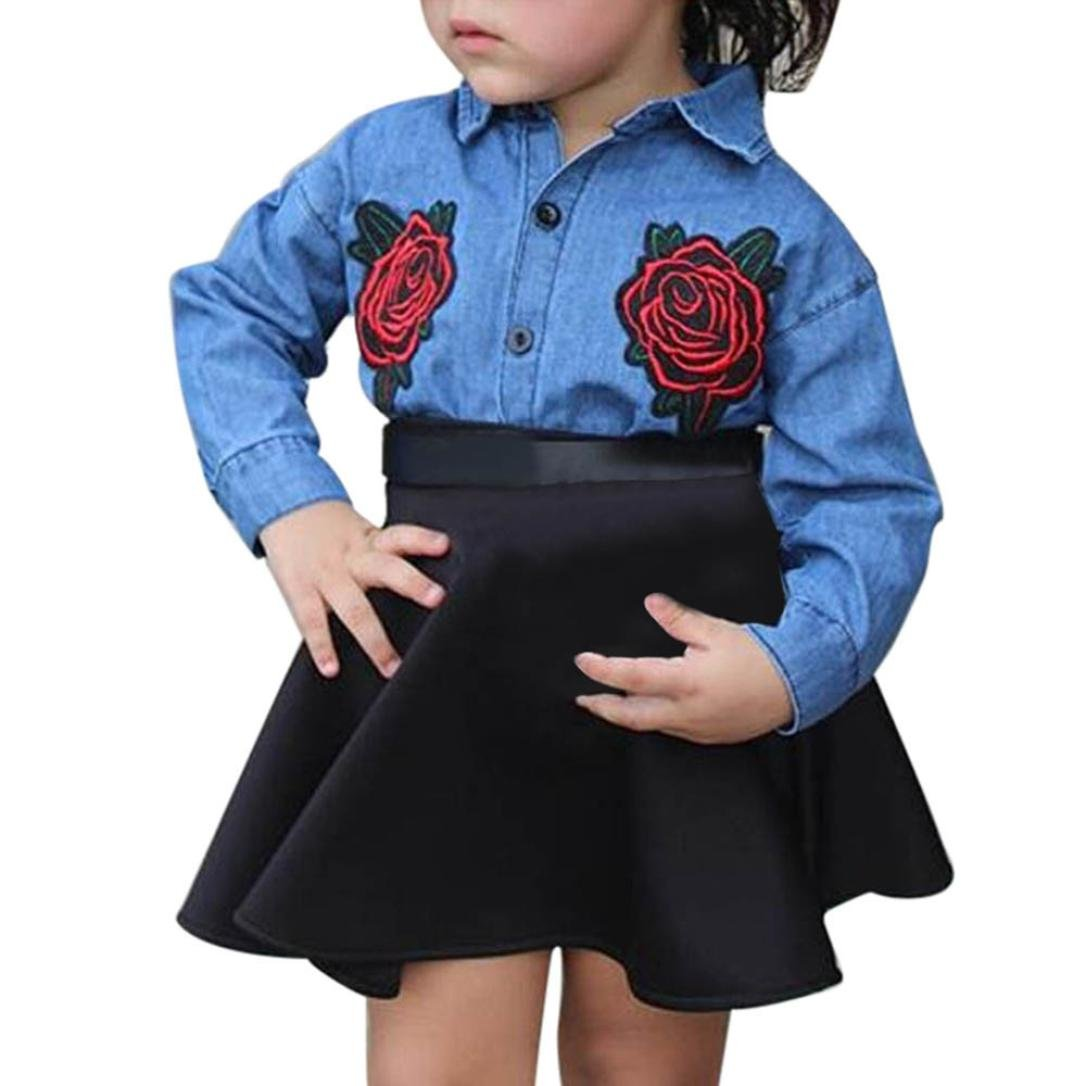 FEITONG Toddler Little Girls Floral Embroidery T-Shirt Tops+Skirt Set FEITONG1767