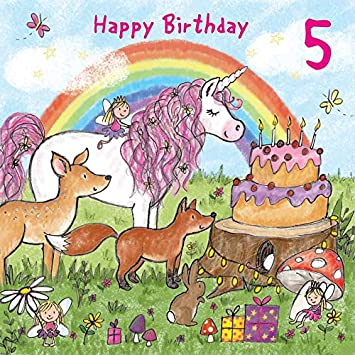 Twizler 5th Birthday Card For Girl With Magical Unicorn Fairies Rainbow And Glitter