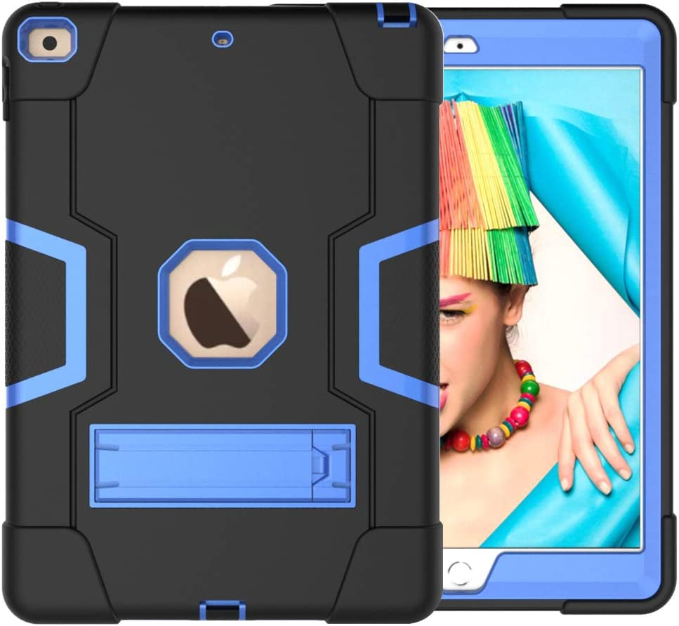 Cantis iPad 8th Generation Case,iPad 7th Generation Case,iPad 10.2 2020/2019 Case,Slim Heavy Duty Shockproof Rugged Protective Case with Built-in Stand for iPad 10.2 inch 2020/2019 (Black+Blue)