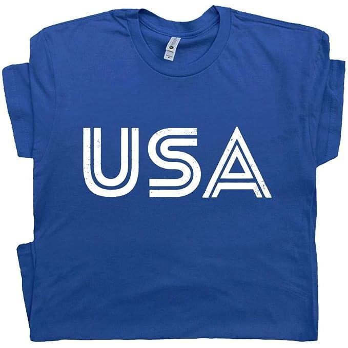 online store 613c5 bb887 USA T Shirt America American Flag Olympics Sports Soccer Logo Patriotic  Vintage Graphic Men Women Tee