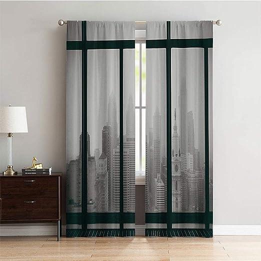 Cortinas anchas para oscurecer habitaciones, de la marca Maisi Urban, con ilustración de tinta de peatones