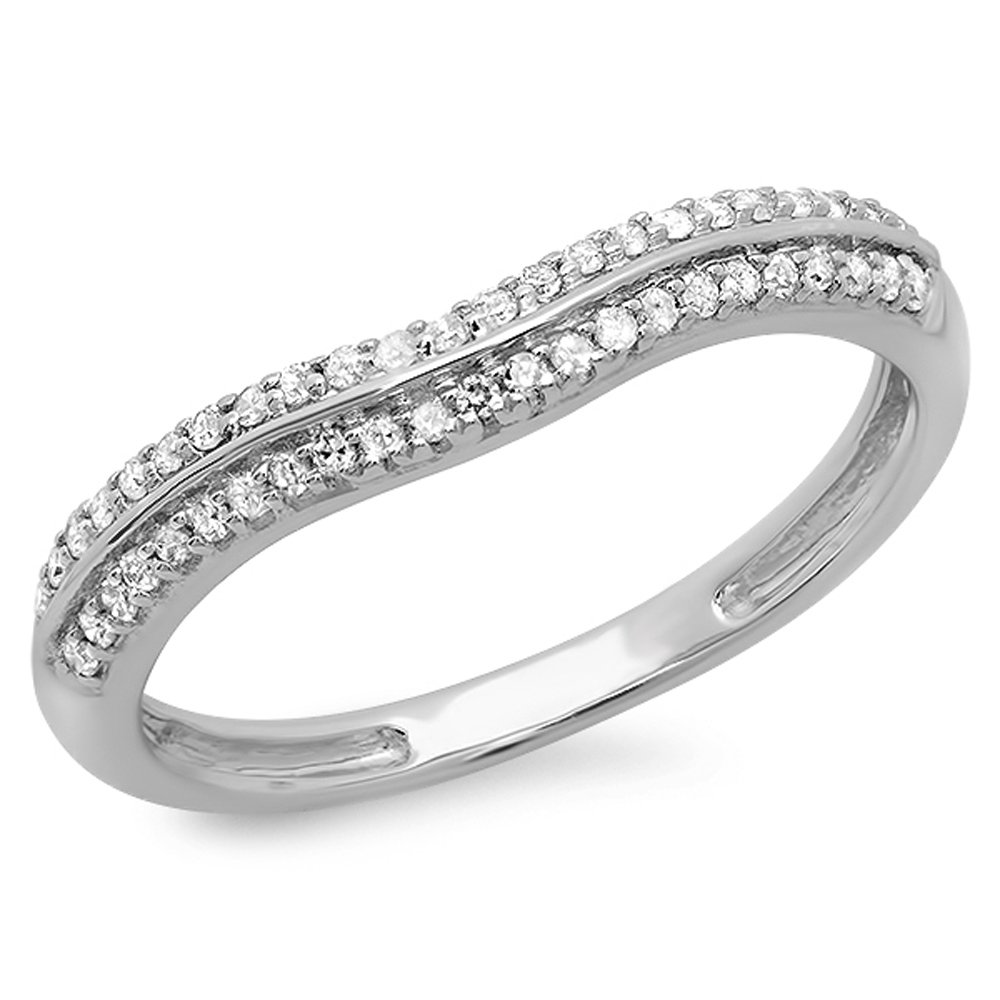 0.20 Carat (ctw) 14K White Gold Round White Diamond Ladies Double Row Curved Anniversary Wedding Band 1/5 CT (Size 7.5)