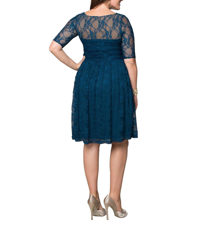 Aneledy Damen Plus Größe Burgund Lace Abendkleid besonderen Anlass ...