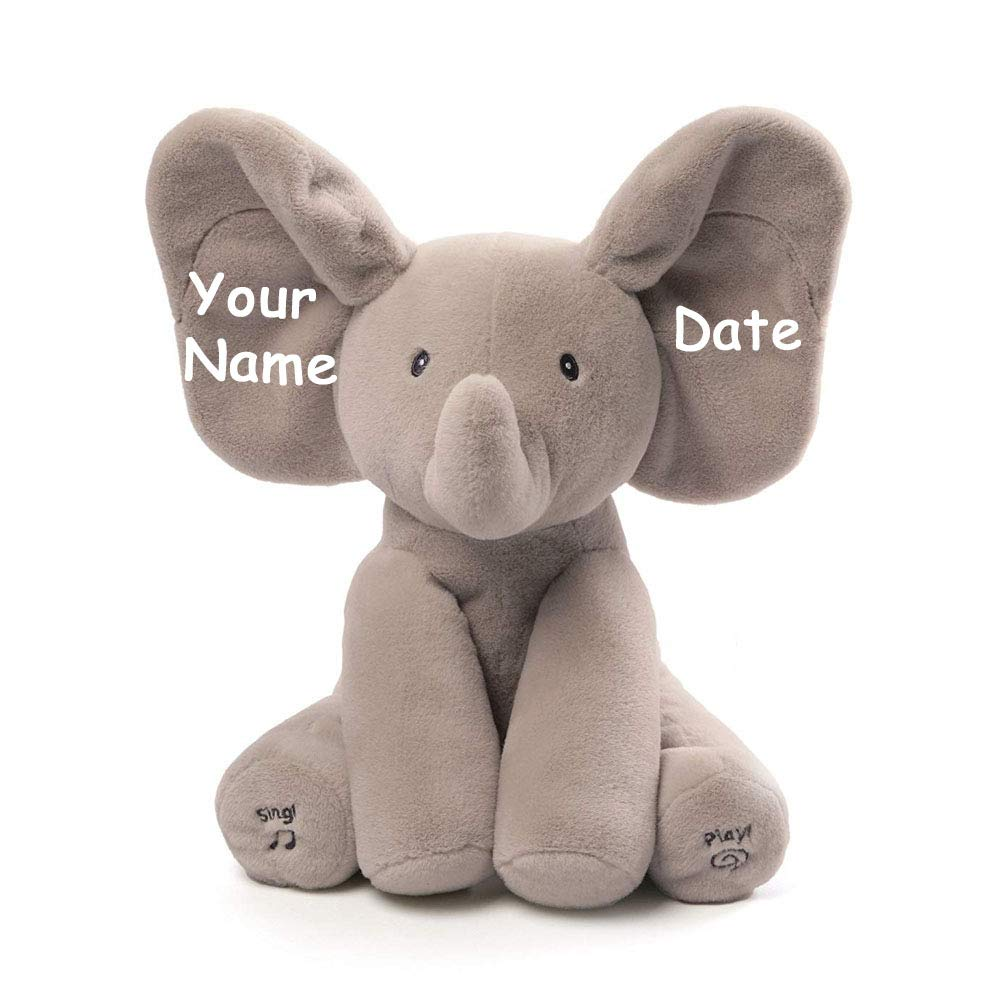 Personalized Elephant Activity Singing Plush Stuffed Animal Toy for Baby Boy or Baby Girl with Custom Name - 12 Inches by TTT