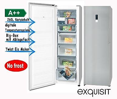 exquisit Gefrierschrank Eisschrank 260L A++ Inoxlook GS 290-1 NFA++ ...