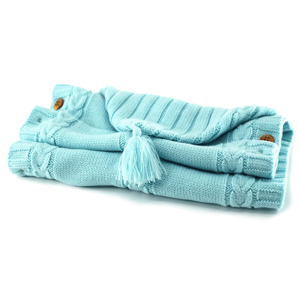 Poplover Baby Wrap Swaddle Blanket Colorful Knit Button Sleeping Bag for 0-12 Month Baby Sky Blue
