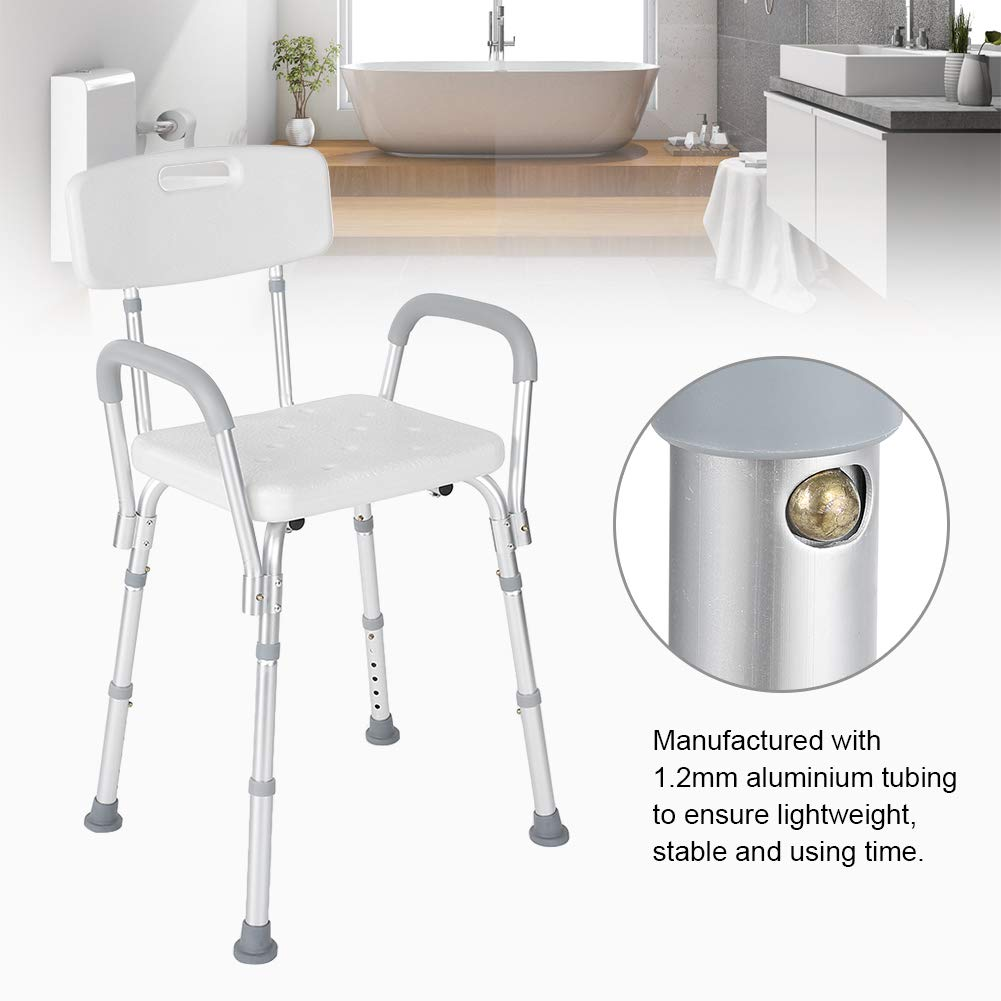 Shower Seat, Manufactured with High Polyethylene Material Adjustable Anti-Slip Detachable Bath Shower Stool for Pregnant Elderly Disabled Care by ZJchao (Image #9)