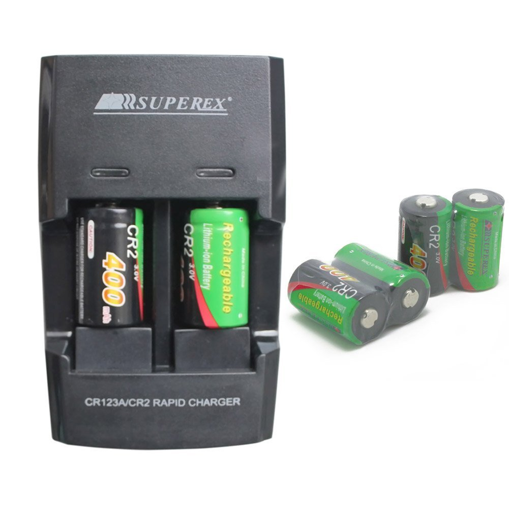 SUPEREX 3 V / 3.2 V 400 mAh cr2 15270バッテリーwithデュアル急速充電式バッテリー充電器車充電器  6個 B01983RXYK