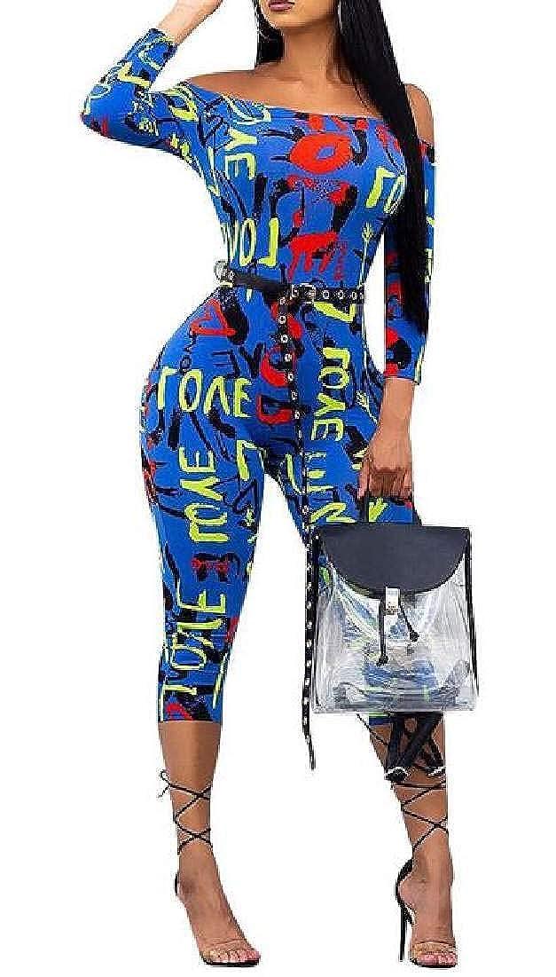 UUYUK Women Long Sleeve Off Shoulder Belted Print Bodycon Rompers Jumpsuit