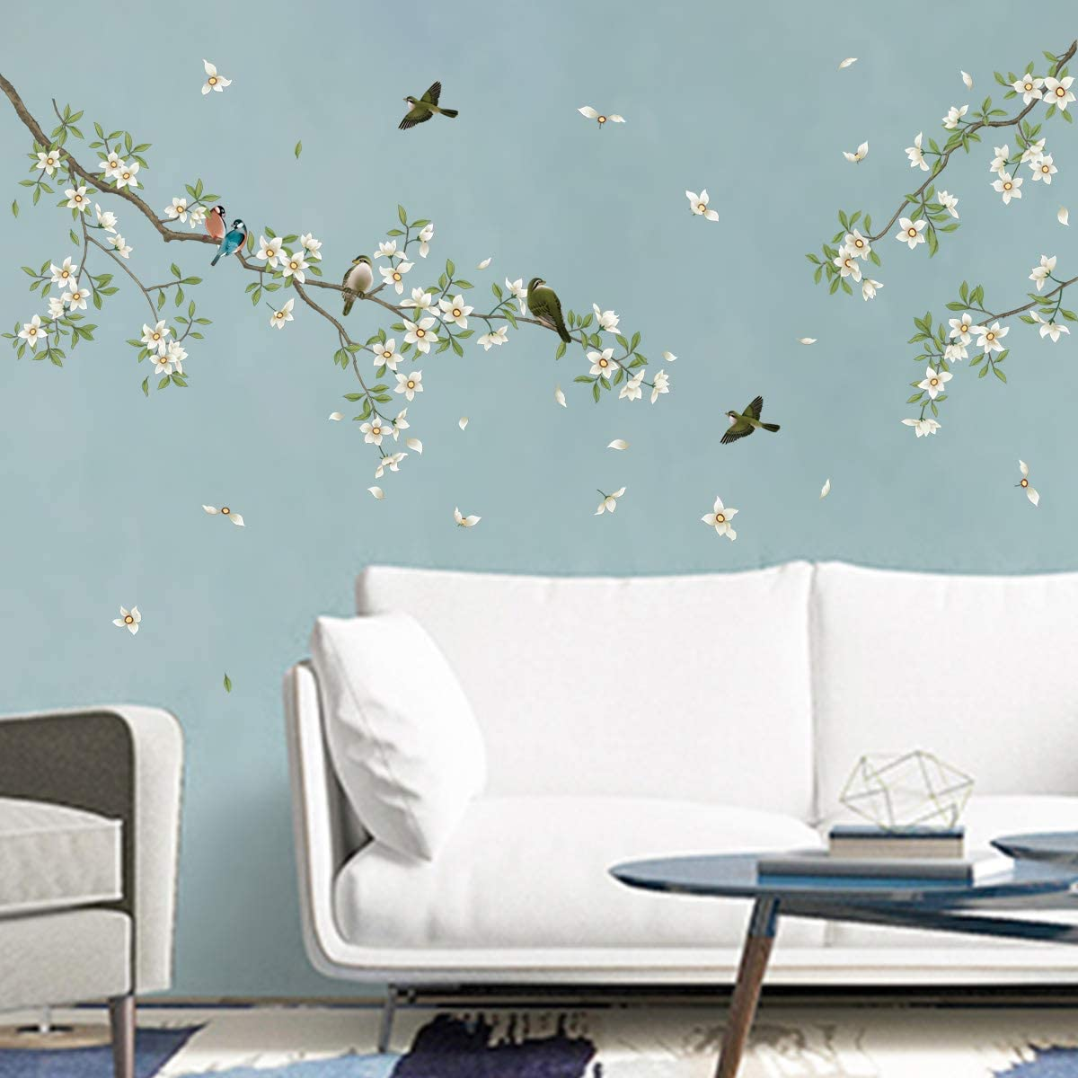 Amazon Com Decalmile Birds On Tree Branch Wall Decals White Blossom Flower Wall Stickers Bedroom Living Room Tv Wall Art Home Decor Arts Crafts Sewing