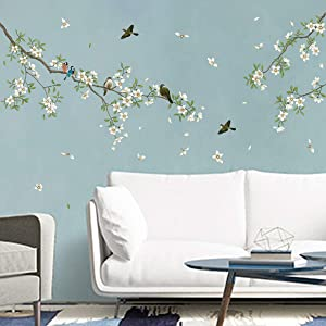 decalmile Birds on Tree Branch Wall Decals White Blossom Flower Wall Stickers Bedroom Living Room TV Wall Art Home Decor