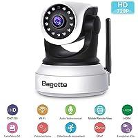 Caméra IP WiFi,Caméra Surveillance WiFi,Bagotte HD 720P Caméra de Sécurité sans Fil avec Vision Nocturne,Détection de Mouvement,Audio bidirectionnel pour sécurité à la Maison/Bébé/Animaux de compagnie
