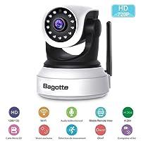 Caméra IP WiFi ,Caméra Surveillance WiFi ,Bagotte HD 720P Caméra de Sécurité sans Fil avec Vision Nocturne,Détection de Mouvement ,2 Voies Audio pour sécurité à la Maison