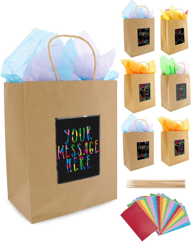 7 Bolsas de Regalo Marrón y Papel de Seda de Purple Ladybug Novelty| Bolsitas Kraft Originales 19x24x12 cm para Personalizar y Envolver Regalos| Envoltorio para Fiestas de Cumpleaños, Navidad y más