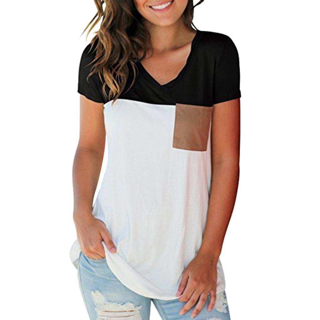 2d48ff7607 Beautyjourney T-Shirt Dentelle Femme, Blouses Jungle Femmes Occasionnelles  Manches Courtes V-Cou Bloc de Couleur ...