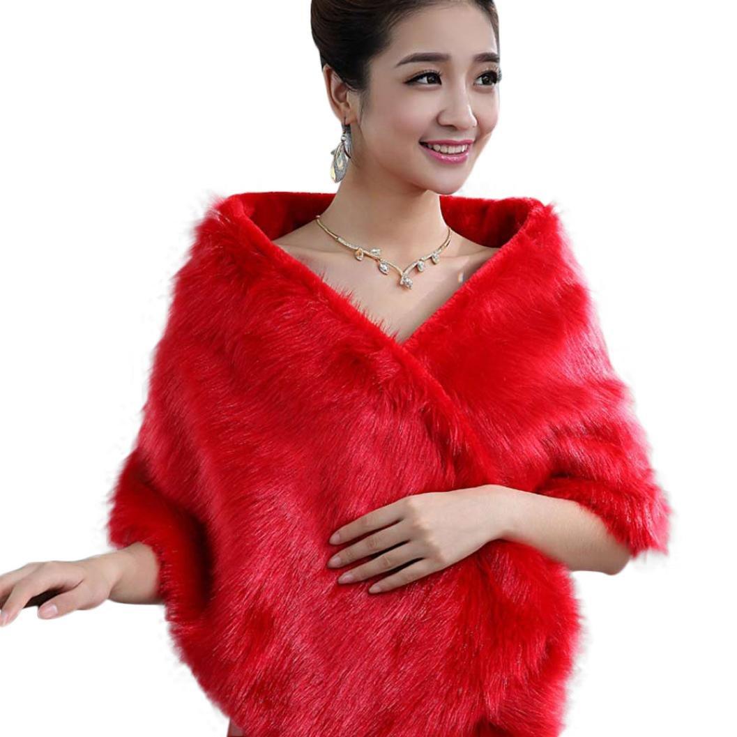 Elevin(TM) Women Faux Fur Cape Wedding Bridal Wrap Jacket Shawls (Red 3)