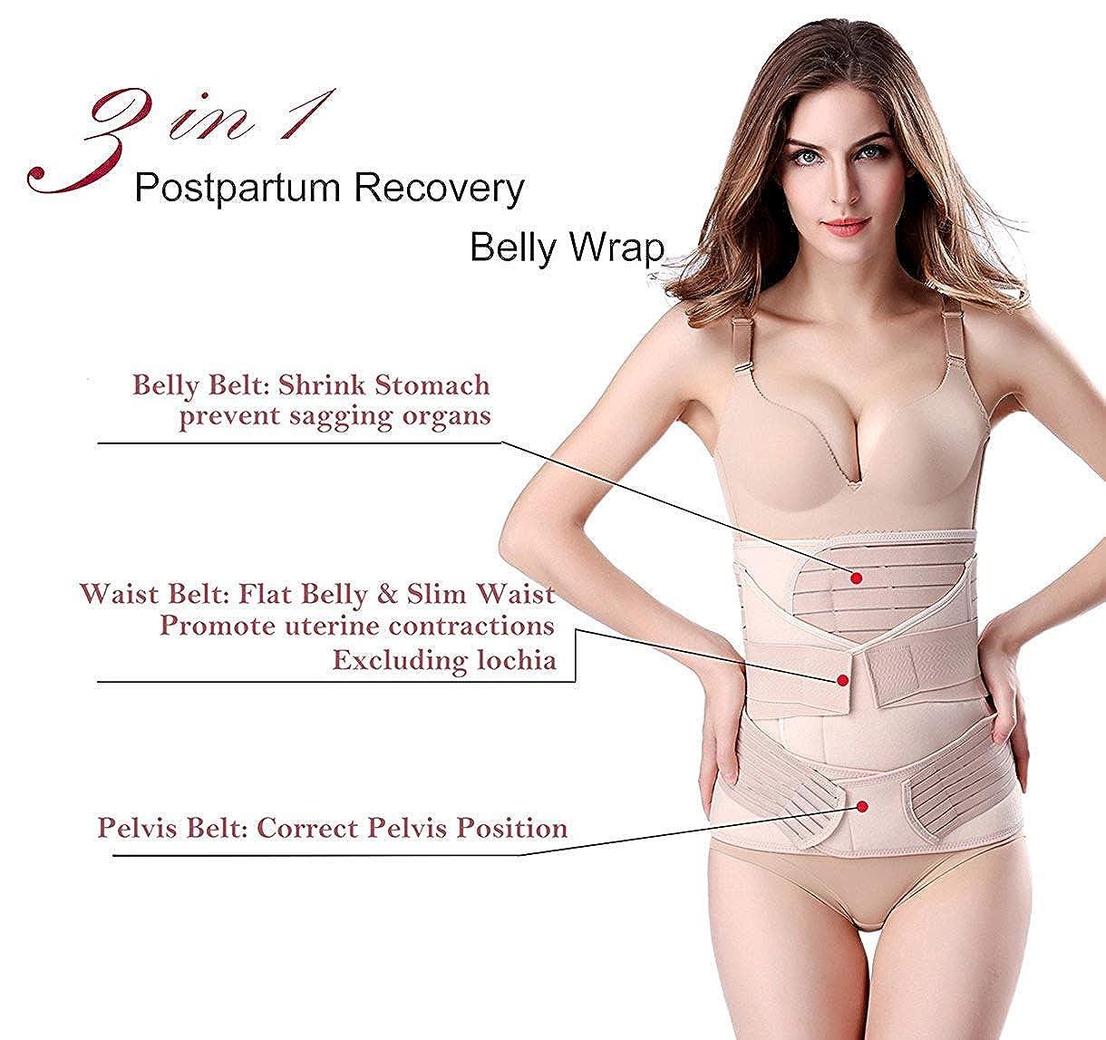 Chongerfei 3/en 1/Postpartum Support Recuperaci/ón Vientre Wrap Cintura//Pelvis Cintur/ón Body Shaper Shapewear posnatal