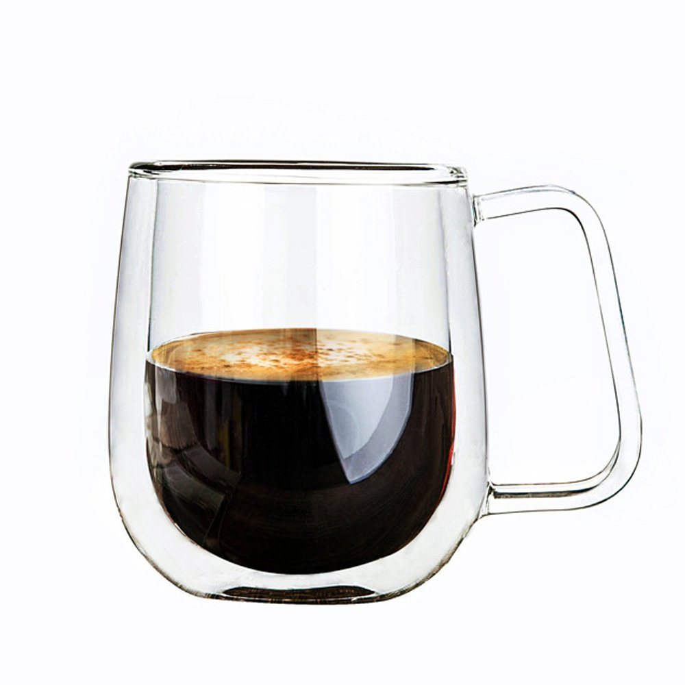 AsentechUK® Double Walled Glass Cups,Transparent Borosilicate Glass Cups For Tea,Coffee,Latte,Cappuccino,Espresso,Beer- Heat-resistance Mug With Handle