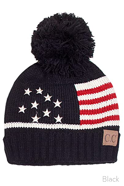 ScarvesMe CC Unisex American Flag USA Patriotic Knit Hat (Black) at ... 192922cbc15