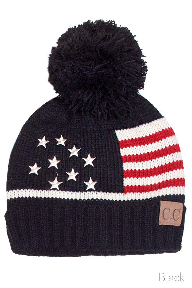 ScarvesMe CC Unisex American Flag USA Patriotic Knit Hat (Black)
