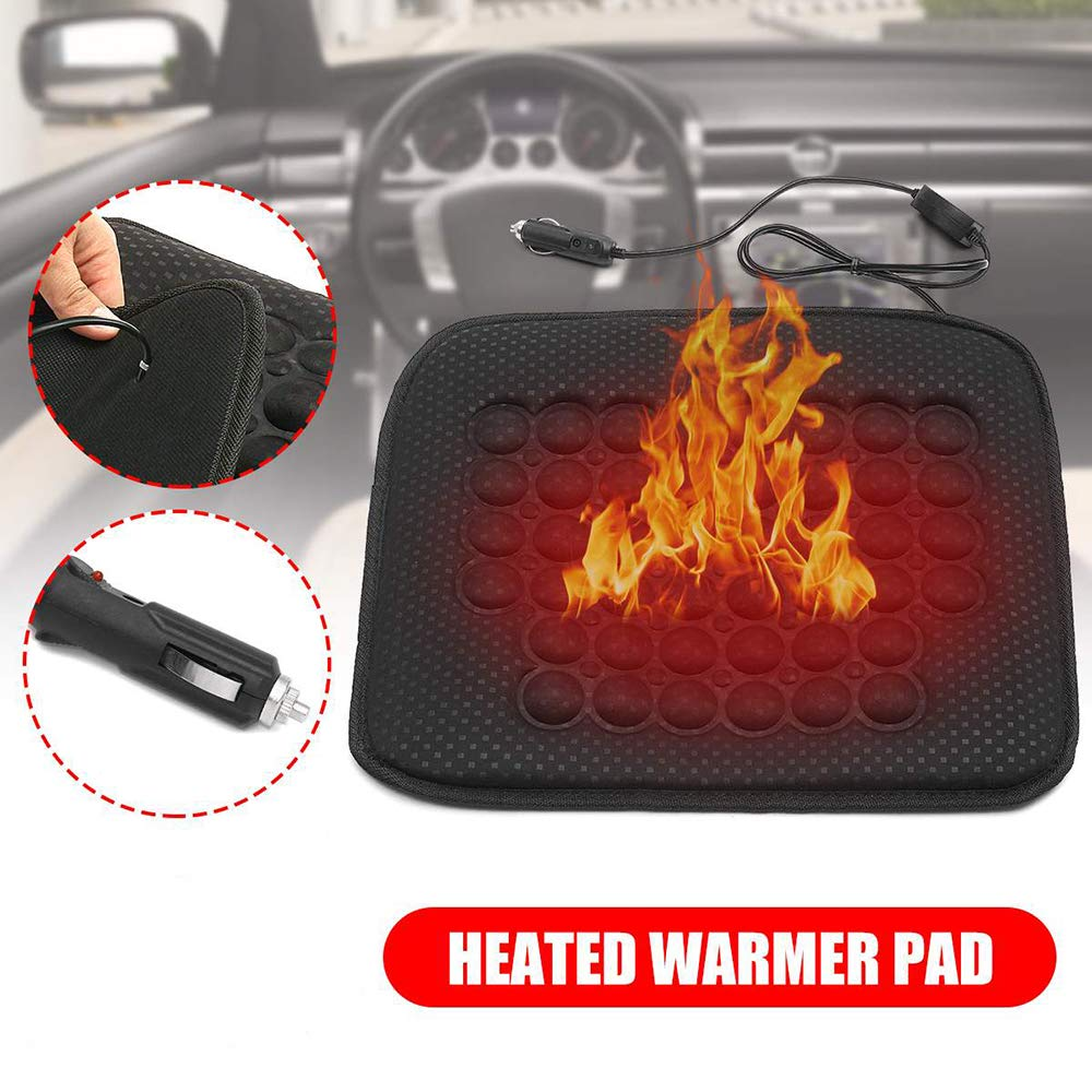 SUNWAN Universal 12V Heated Cover Winter Warmer Pad for Car Trucks Vehicle Fast Heating Car Seat Cushion