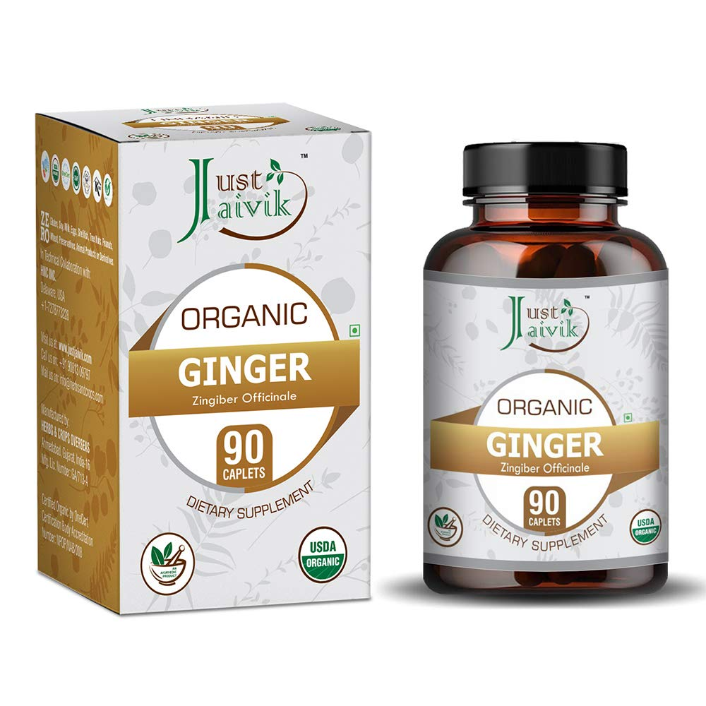 Just Jaivik 100% Organic & Pure Ginger/Sunthi/Dry Adrak Root (Zingiber officinale) Tablets As Dietary Supplements - 750mg (90 Tablets) | For Digestive Wellness | Boosts Immunity | Weight Loss