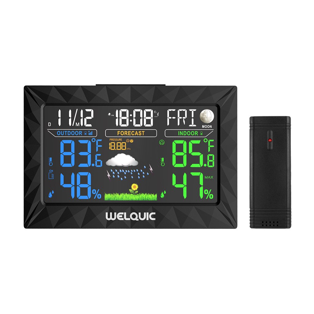 WELQUIC Digital Wireless Weather Station with Large LCD Color Display, Outdoor Sensor, Snooze Alarm, Barometer for Weather Forecast, Temperature Humidity Measure
