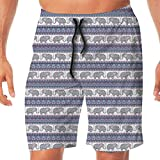 Haixia Mens Casual Boardshorts Elephant Traditional Characters Tribal ORN