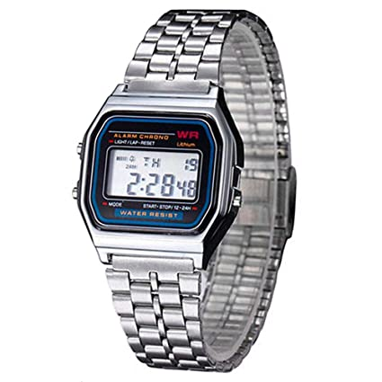 Ociodual Reloj de Pulsera Digital Estilo Clásico Plateado ...