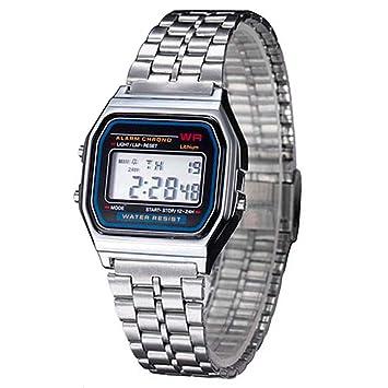 Ociodual Reloj de Pulsera Digital Estilo Clásico Plateado: Amazon.es: Electrónica