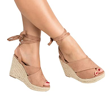 61792ed652d Fashare Womens Open Toe Tie Lace Up Espadrille Platform Wedges Sandals  Ankle Strap Slingback Dress Shoes