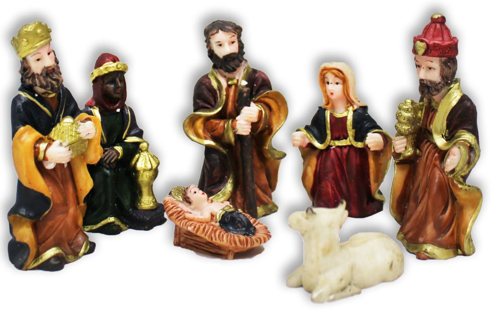 7 Piece Nativity Characters Set In Miniature Size Made Of Polymer Clay