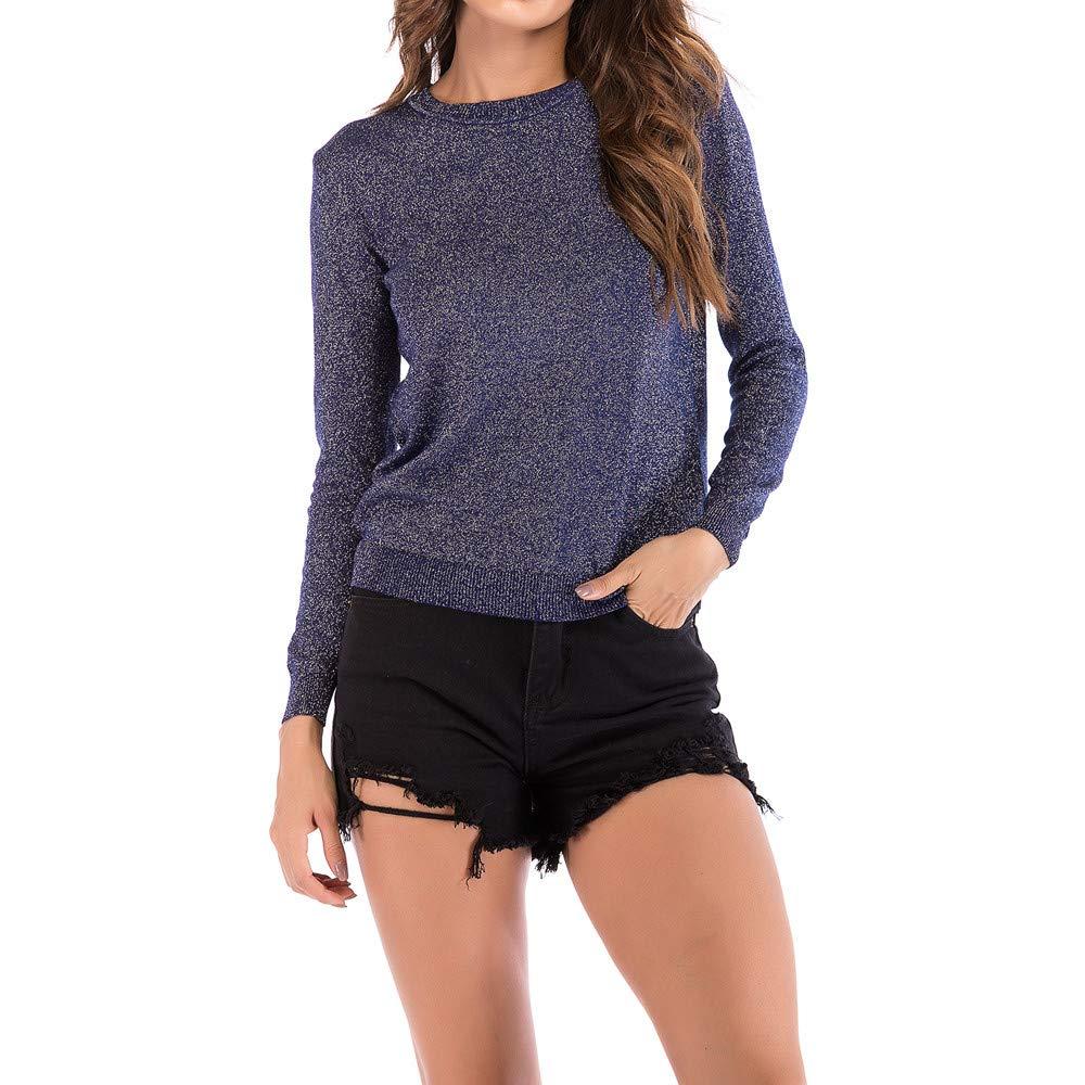 Bolayu Women Casual Shirt O-Neck Solid Blouse Long Sleeve Knit Tops Sweatshirt (XL, Blue) by Bolayu