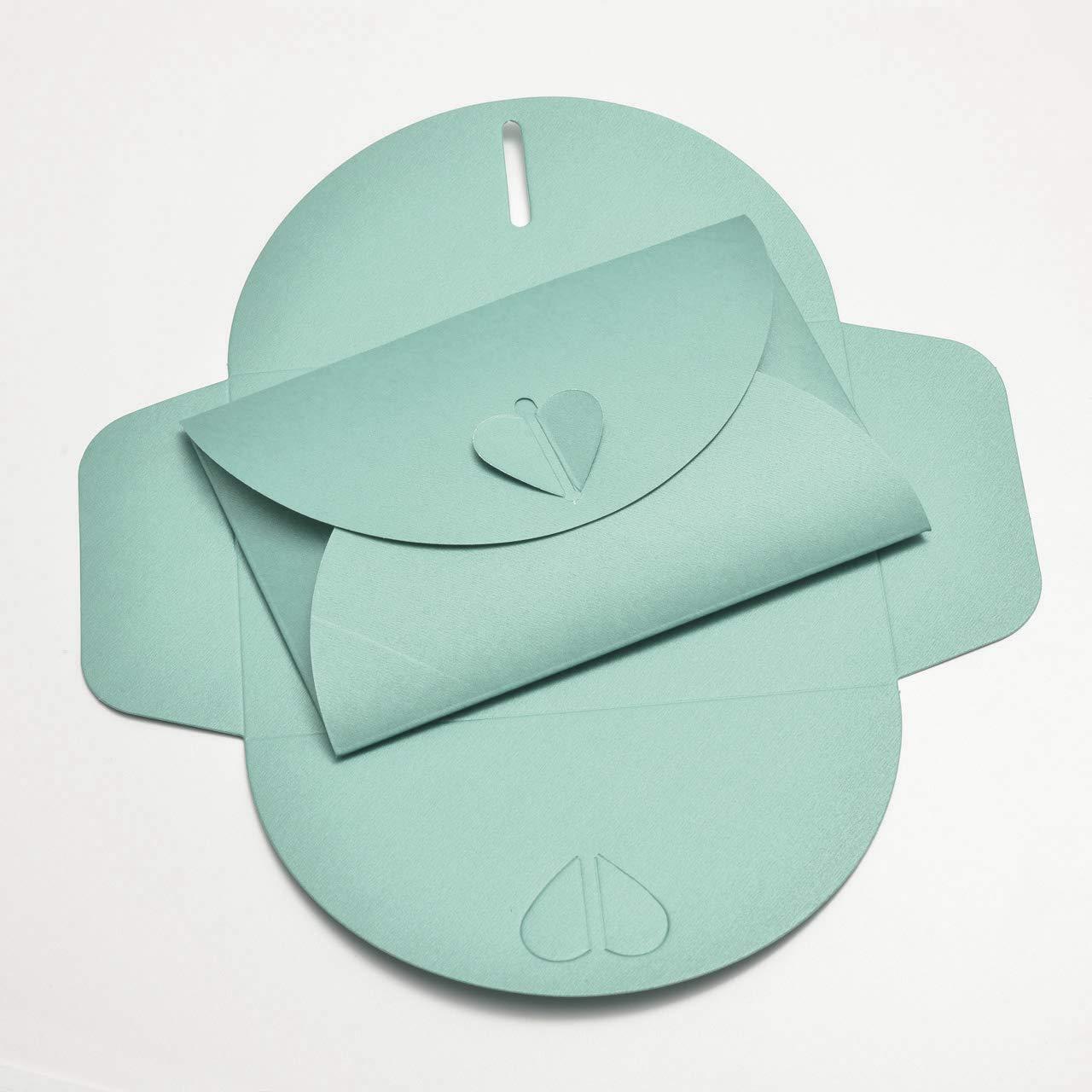 Karten und Co lettera damore 162 x 144 mm bianco - 20 buste a forma di cuore in cartone perlato ad esempio per inviti a matrimonio fidanzamento C6 = 162 x 114 mm
